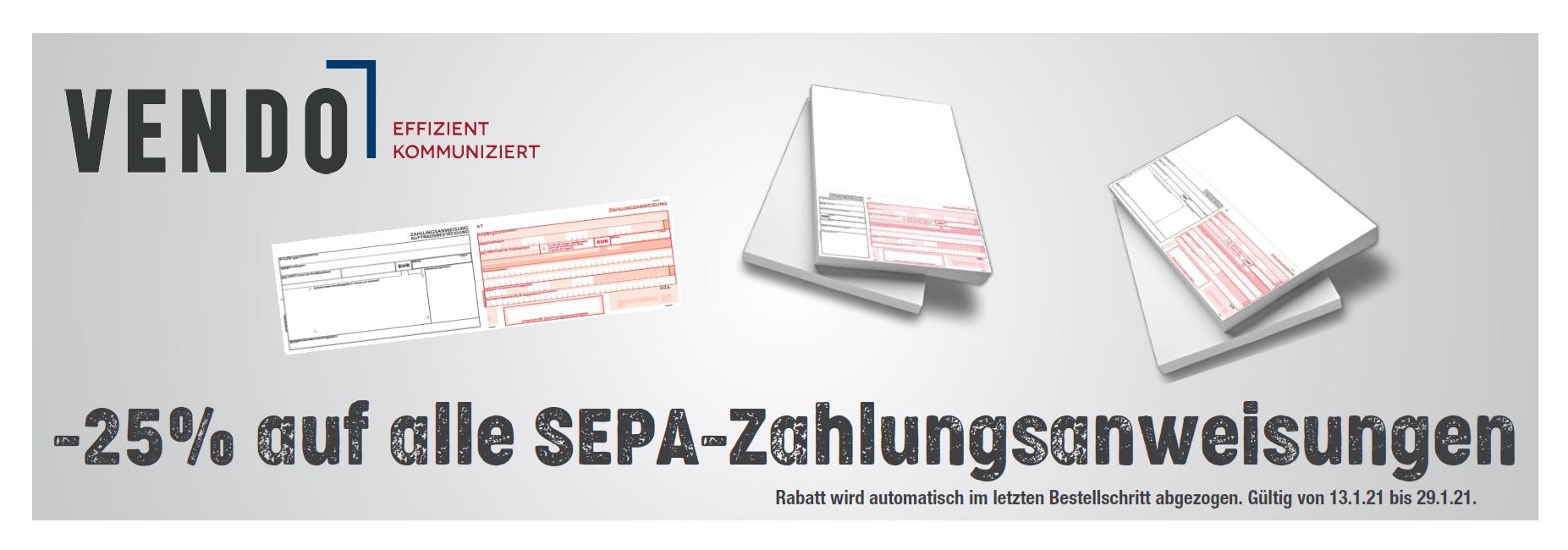 Sparen Sie -25% auf alle SEPA-Zahlungsanweisungen