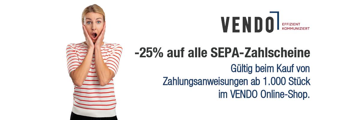 -25% auf alle SEPA-Zahlscheine