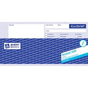 AVERY ZWECKFORM Kurzbrief 1020 mit Blaupapier 1/3 A4 100 Blatt weiß
