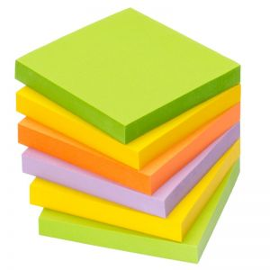 INFO NOTES Haftnotiz 76 x 76 mm 100 Blatt 6 Stück Neon-Mix