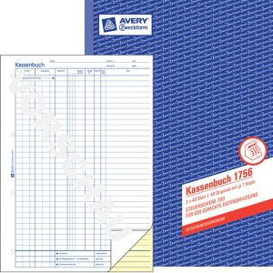 AVERY ZWECKFORM Kassenbuch 1756 DIN A4 2x40 Blatt selbstdurchschreibend
