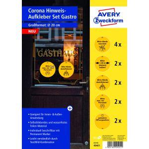 AVERY Zweckform Hinweisetiketten 49401 12 Stück für die Gastro Ø 20 cm gelb/schwarz
