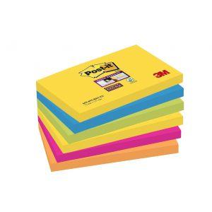 POST-IT® Haftnotizen Super Sticky 6556SR 6 Blöcke à 90 Blatt 76 x 76 mm mehrfarbig