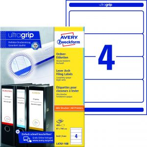 AVERY ZWECKFORM Ordneretiketten ultragrip L4761-100 400 Stück breit 61 x 192 mm weiß