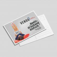 Postkarten 4c/4c, 210x99mm, 250g Kd, Vorderseite matt cellophaniert, 4c-Digitaldruck, Produktionszeit: Standard