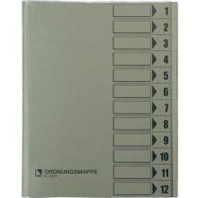 BENE Ordnungsmappe 83800 DIN A4 12-teilig Hartpappe grau