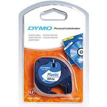 DYMO Letra Tag Etikettenband 12 mm schwarz auf weiß