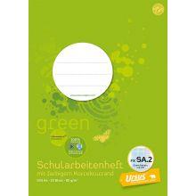 URSUS GREEN Schularbeitenheft A4 20 Blatt kariert mit Korrekturrand grün
