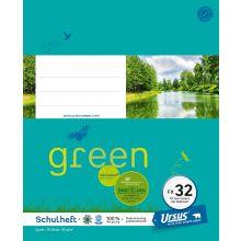 URSUS GREEN Heft FX 32 Quart 20 Blatt liniert mit Rahmen türkisblau