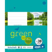 URSUS GREEN Heft FX 38 Quart 20 Blatt kariert mit Korrekturrand türkisblau