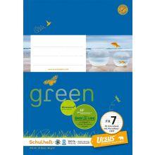URSUS GREEN Heft FX 7 A5 20 Blatt liniert mit Korrekturrand blau