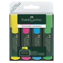 FABER CASTELL Textliner 48 mit Keilspitze 4er Etui 1-5 mm farbig sortiert