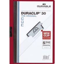 DURABLE Klemm-Mappe 2200 Duraclip A4 für 30 Blatt dunkelrot