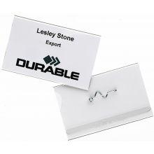 DURABLE Namensschild 8144 50 Stück mit Anstecknadel 9 x 5,4 cm transparent
