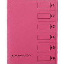 BENE Ordnungsmappe 83600 A4 mit 6 Fächern rosa