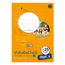URSUS GREEN Vokabelheft FX25 A5 40 Blatt mit 2 Mittelstrichen liniert