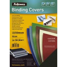 FELLOWES Deckblatt 5370405 Delta 100 Stück A4 mit Lederstruktur schwarz