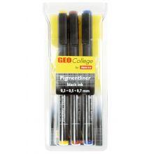 ARISTO Pigmentliner Geo College 3-teilig schwarz