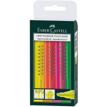 FABER CASTELL Textmarker Grip mit Keilspitze 4er Etui 1-5 mm farbig sortiert