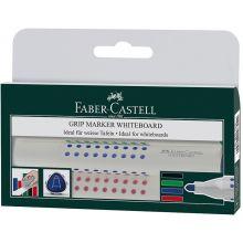 FABER-CASTELL Whiteboardmarker Grip 1583 mit Rundspitze 4er Etui 1,5 mm farbig sortiert