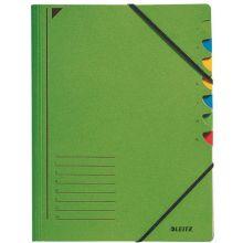 LEITZ Ordnungsmappe 3907 A4 7 Fächer mit Gummizug grün