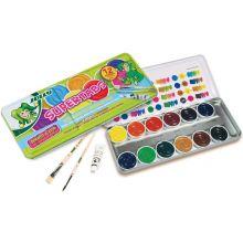 JOLLY Deckfarbkasten 9335 mit 2 Pinseln und Deckweiß 12 Stück mehrere Farben
