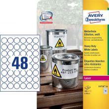 AVERY ZWECKFORM Wetterfeste Etiketten L4716-20 960 Stück Ø 30 mm weiß
