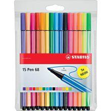 STABILO Filzstift Pen 68 15 Stück im Etui 1 mm mehrere Farben