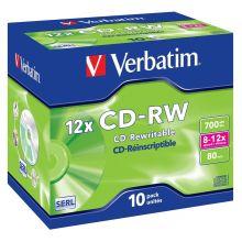 VERBATIM CD-RW 700MB 80min 12x Jewelcase 10 Stück