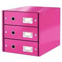 LEITZ Schubladenbox Click & Store 6048 mit 3 Schubladen pink-metallic