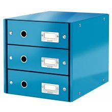 LEITZ Schubladenbox Click & Store 6048 mit 3 Schubladen blau-metallic