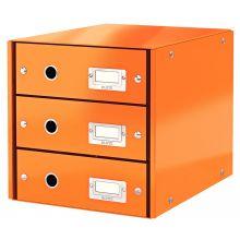 LEITZ Schubladenbox Click & Store 6048 mit 3 Schubladen orange-metallic