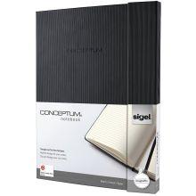 SIGEL Notizbuch Conceptum C0142 A4+ liniert schwarz 194 Seiten
