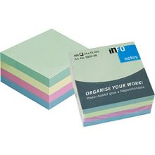 INFO NOTES Haftnotiz Würfel 75 x 75 mm 400 Blatt Pastell-Mix