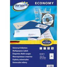 EUROPE100 Universal-Etiketten 7,0 x 3,71 cm 100 Blatt weiß