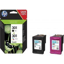 HP Tintenpatrone Nr. 301 2 Stück 3ml schwarz und color