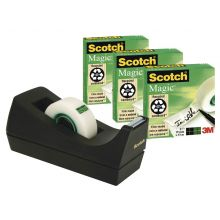 SCOTCH Klebeband Magic inkl. Tischabroller C38 3 Rollen 19 mm x 33 m schwarz
