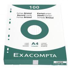 EXACLAIR Karteikarten 13806B A4 liniert 100 Stück weiß