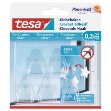TESA Klebehaken 77734 5 Haken + 8 Strips für Glas transparent