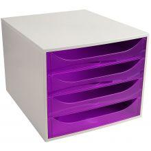 EXACOMPTA Schubladenbox Multiform 228619D A4 grau/violett