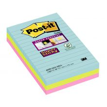 POST-IT Haftnotiz Super Sticky XL 4690-MIA 3 Blöcke liniert mehrere Farben