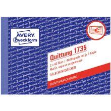 AVERY ZWECKFORM Quittung 1735 DIN A6 quer 2x40 Blatt selbstdurchschreibend