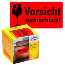 """AVERY ZWECKFORM Warnetiketten 7211 200 Etiketten """"Vorsicht zerbrechlich!"""" 100 x 50 mm neonrot"""