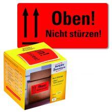 "AVERY ZWECKFORM Warnetiketten 7214 200 Etiketten ""Oben! Nicht stürzen!"" 100 x 50 mm neonrot"