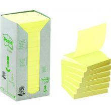 POST-IT® Recycling-Haftnotizen Z-Notes Tower 16 Blöcke à 100 Blatt 76 x 76 mm gelb
