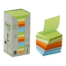 POST-IT® Recycling-Haftnotizen Z-Notes Tower 16 Blöcke à 100 Blatt 76 x 76 mm farbig sortiert