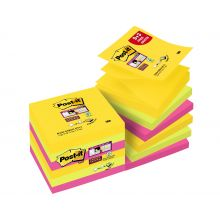 POST-IT® Haftnotizen Super Sticky Z-Notes R330S9+3 12 Blöcke à 90 Blatt 76x76mm farbig sortiert