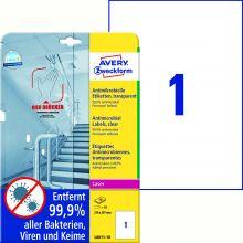 AVERY ZWECKFORM Antimikrobielle Etiketten L8011-10 10 Etiketten permanent haftend 210 x 297 mm transparent