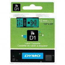 DYMO Beschriftungsband D1 45019 12 mm x 7 m laminiert schwarz/grün