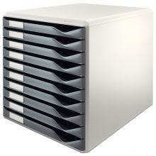 LEITZ Schubladenbox 5281 mit 10 Laden dunkelgrau